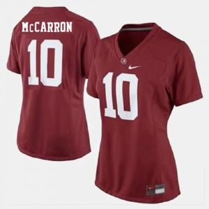 Women Bama Football #10 A.J. McCarron college Jersey - Red