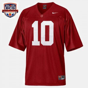 Men Football #10 University of Alabama A.J. McCarron college Jersey - Red