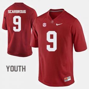 For Kids #9 University of Alabama Football Bo Scarbrough college Jersey - Crimson