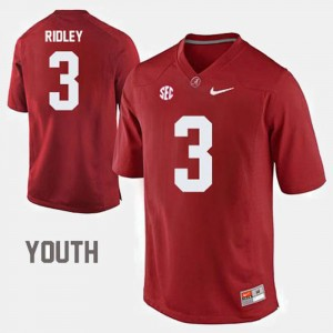 For Kids #3 Bama Football Calvin Ridley college Jersey - Red