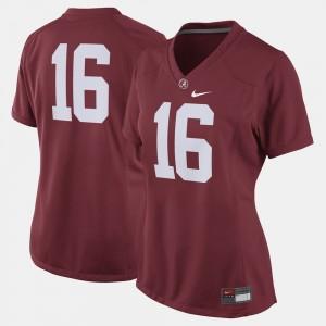 Women #16 Football Bama college Jersey - Crimson