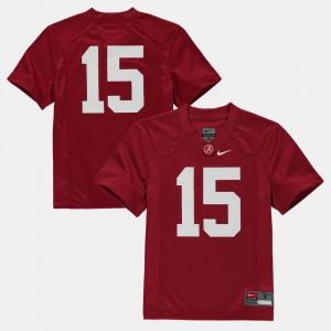 For Kids #15 Football Bama college Jersey - Crimson