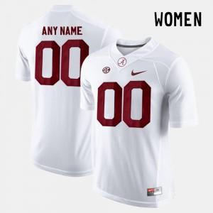 Womens Limited Football #00 University of Alabama college Customized Jerseys - White