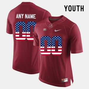 For Kids #00 US Flag Fashion Bama college Customized Jerseys - Crimson