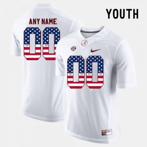 Youth(Kids) #00 Alabama US Flag Fashion college Custom Jersey - White