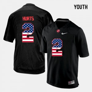 Youth #2 Alabama Roll Tide US Flag Fashion Jalen Hurts college Jersey - Black