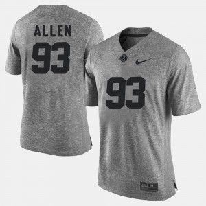Men's Gridiron Limited Alabama Roll Tide Gridiron Gray Limited #93 Jonathan Allen college Jersey - Gray
