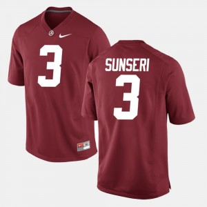 Men's Alabama Crimson Tide #3 Alumni Football Game Vinnie Sunseri college Jersey - Crimson