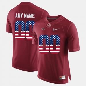 Mens Bama #00 US Flag Fashion college Customized Jerseys - Crimson