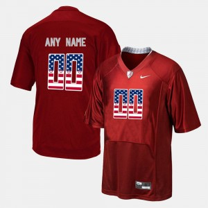 Men's US Flag Fashion #00 Alabama college Customized Jersey - Red