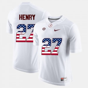 Mens #27 US Flag Fashion Bama Derrick Henry college Jersey - White
