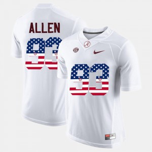 Mens Alabama Roll Tide #93 US Flag Fashion Jonathan Allen college Jersey - White
