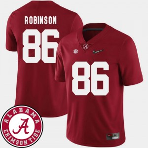 Men Football #86 University of Alabama 2018 SEC Patch A'Shawn Robinson college Jersey - Crimson