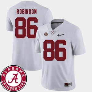 Men Alabama Crimson Tide #86 2018 SEC Patch Football A'Shawn Robinson college Jersey - White