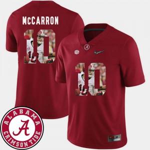 Men #10 Bama Football Pictorial Fashion AJ McCarron college Jersey - Crimson
