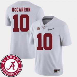 Men's Football #10 2018 SEC Patch Bama AJ McCarron college Jersey - White