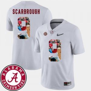 Men Pictorial Fashion Football #9 University of Alabama Bo Scarbrough college Jersey - White