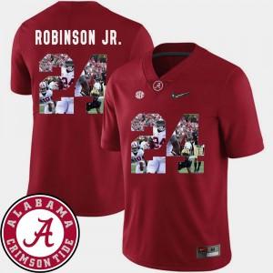 Men's Football Alabama Roll Tide #24 Pictorial Fashion Brian Robinson Jr. college Jersey - Crimson