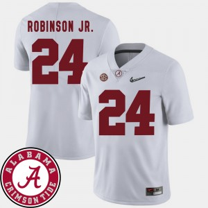 Mens 2018 SEC Patch Football #24 Roll Tide Brian Robinson Jr. college Jersey - White