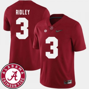 Mens 2018 SEC Patch Football #3 Bama Calvin Ridley college Jersey - Crimson
