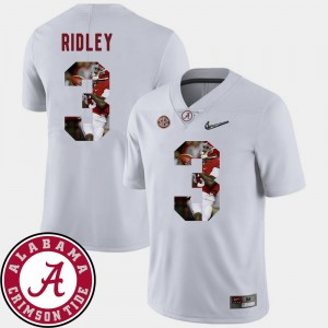 Men Football University of Alabama Pictorial Fashion #3 Calvin Ridley college Jersey - White
