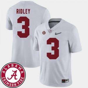 Mens 2018 SEC Patch Football Alabama Crimson Tide #3 Calvin Ridley college Jersey - White