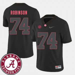 Mens #74 Cam Robinson college Jersey - Black Football 2018 SEC Patch Alabama Roll Tide