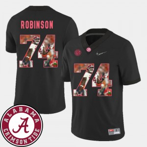 Men Pictorial Fashion Roll Tide Football #74 Cam Robinson college Jersey - Black