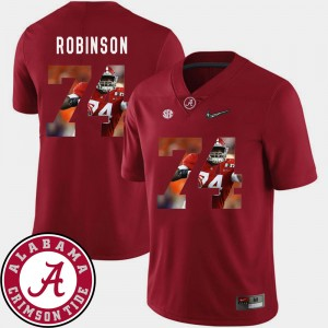 Men's Pictorial Fashion Bama Football #74 Cam Robinson college Jersey - Crimson