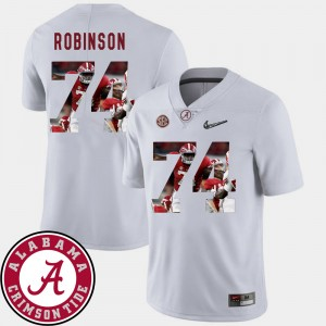 Men's Football Alabama Crimson Tide Pictorial Fashion #74 Cam Robinson college Jersey - White