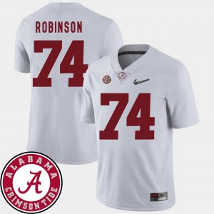 Men's Alabama Roll Tide Football 2018 SEC Patch #74 Cam Robinson college Jersey - White