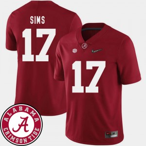 Men's Football University of Alabama #17 2018 SEC Patch Cam Sims college Jersey - Crimson