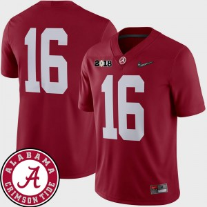 Men #16 2018 National Championship Playoff Game Roll Tide Football college Jersey - Crimson