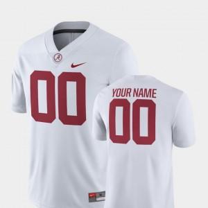 Men's 2018 Game Bama #00 Football college Custom Jersey - White