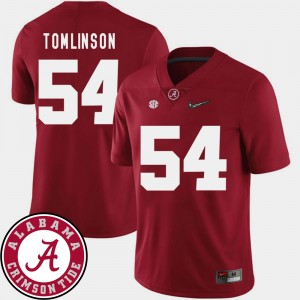 Men's #54 Alabama Roll Tide Football 2018 SEC Patch Dalvin Tomlinson college Jersey - Crimson
