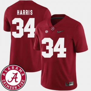 Men's #34 Football 2018 SEC Patch Alabama Roll Tide Damien Harris college Jersey - Crimson