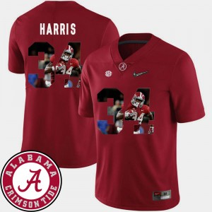 Men #34 Roll Tide Football Pictorial Fashion Damien Harris college Jersey - Crimson