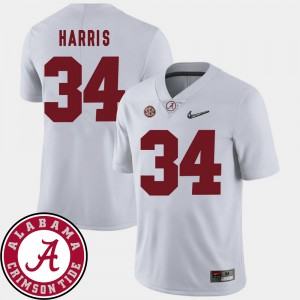 Men 2018 SEC Patch Football #34 University of Alabama Damien Harris college Jersey - White