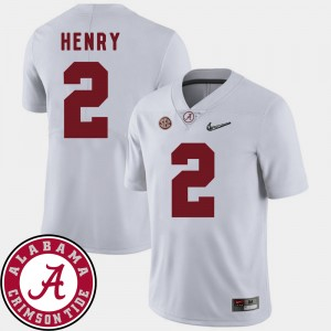 Men Roll Tide 2018 SEC Patch #2 Football Derrick Henry college Jersey - White
