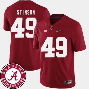 Men's #49 Football Roll Tide 2018 SEC Patch Ed Stinson college Jersey - Crimson