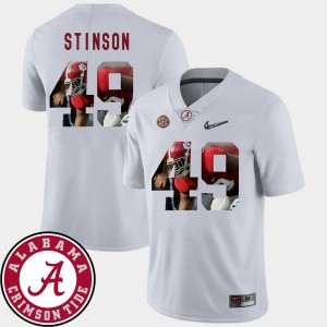 Men's Football #49 Pictorial Fashion Alabama Roll Tide Ed Stinson college Jersey - White