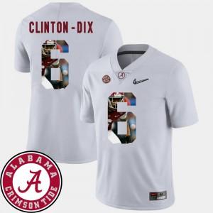 Mens Roll Tide #6 Pictorial Fashion Football Ha Ha Clinton-Dix college Jersey - White