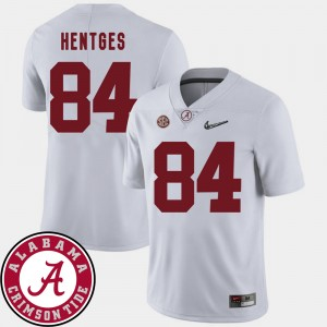 Men 2018 SEC Patch Football University of Alabama #84 Hale Hentges college Jersey - White