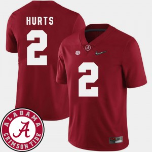 Men 2018 SEC Patch Roll Tide #2 Football Jalen Hurts college Jersey - Crimson