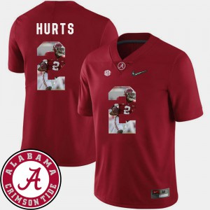 Men's #2 Pictorial Fashion Football Alabama Jalen Hurts college Jersey - Crimson