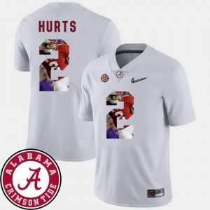 Mens Football Pictorial Fashion #2 University of Alabama Jalen Hurts college Jersey - White