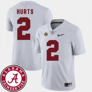 Men's #2 Roll Tide Football 2018 SEC Patch Jalen Hurts college Jersey - White