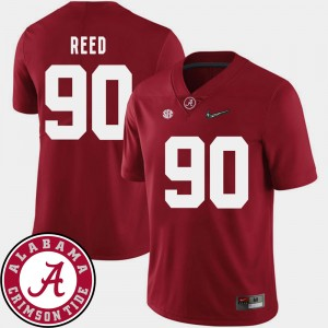 Men #90 Football Alabama 2018 SEC Patch Jarran Reed college Jersey - Crimson