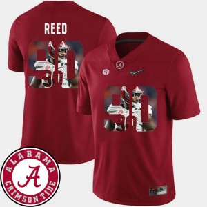 Men #90 Pictorial Fashion Football Alabama Jarran Reed college Jersey - Crimson