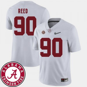 Men's 2018 SEC Patch Football Alabama #90 Jarran Reed college Jersey - White
